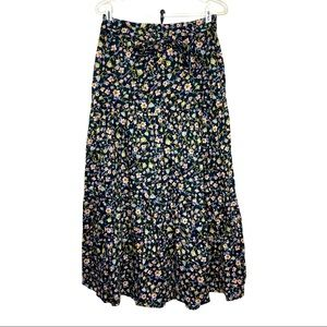 Who What Wear Floral Tiered Maxi Skirt